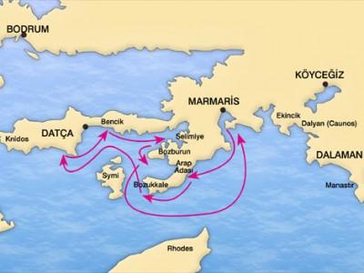Marmaris-Datca Blue Cruise Map