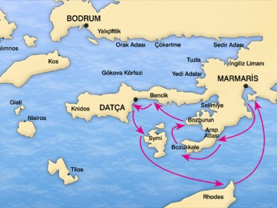 Marmaris-South Dodecanese Blue Cruise Map
