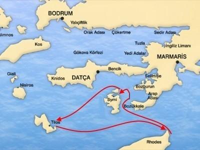 Родос-Сими-Тилос круиз на яхте Map