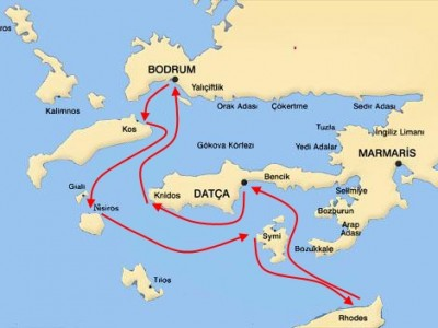 Bodrum-South Dodecanese Cruise Map