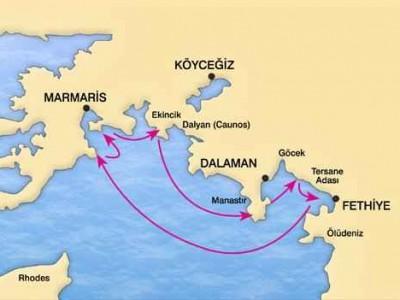 Marmaris-Fethiye Blue Cruise Map