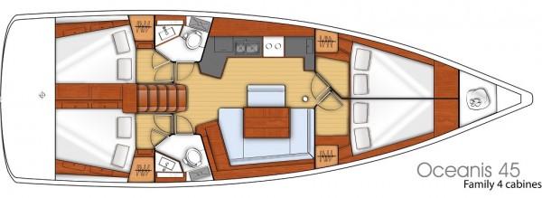 Oceanis 45 (port Gocek) Layout