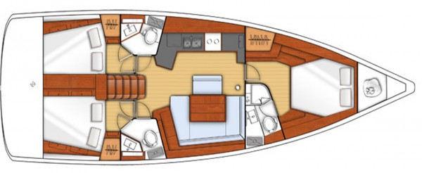 Oceanis 45 - 2014 (порт Gocek) План яхты