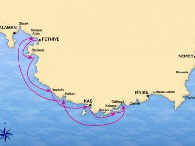 Fethiye-Kekova Blue Cruise Map