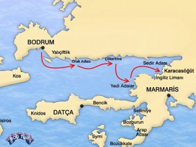 Bodrum-Karacasogut Croisière Goélette Map