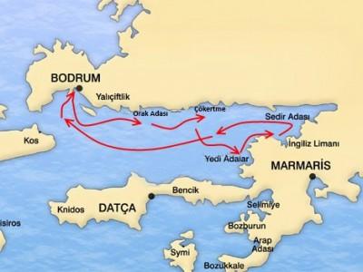 Bodrum-Gokova Blue Cruise Map