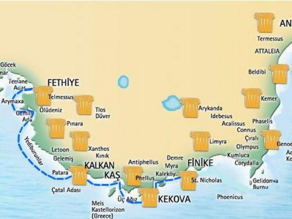 Фетхие-Олимпос Мини круиз Map