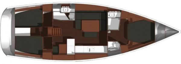 Dufour 445 GL - 3 Cabins (Liman Gocek) Yat Planı