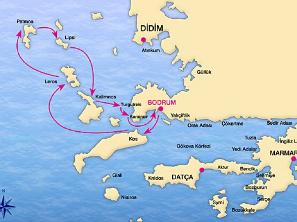Bodrum-North Dodecanese Cruise Map
